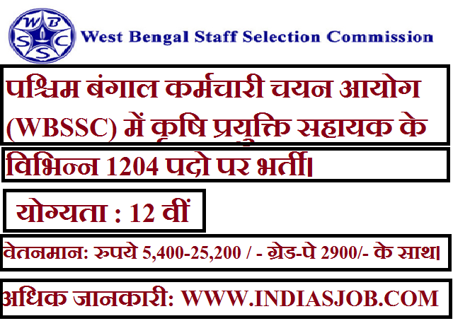 West Bengal Staff Selection Commission (WBSSC) indiasjob